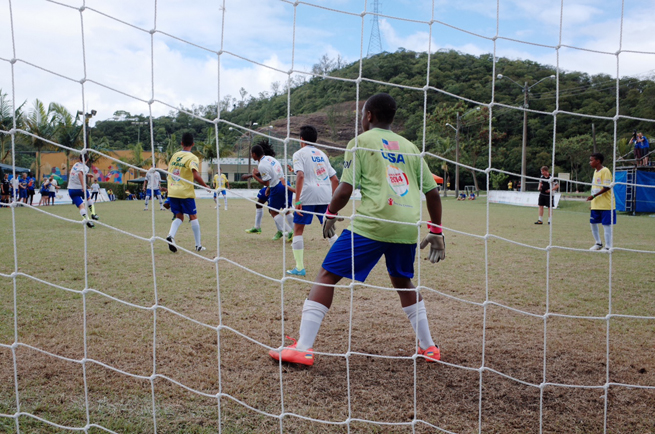 The USA boys team takes on host Brazil at the Street Child World Cup.
