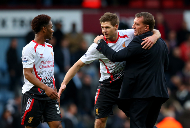 There has been much for Liverpool manager Brendan Rodgers, right, and captain Steven Gerrard, center, to celebrate with the club in the mix for the Premier League title.