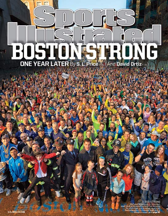 "April 21, 2014  |  The people of Boston made a strong showing? would you expect anything else?? when SI put out a casting call for a photo shoot last Saturday at the Boston Marathon finish line on Boylston Street, steps from where two bombs exploded on Patriots' Day last year. A crowd of 3,000, including runners who were near the blast, first responders and mayor Marty Walsh, arrived by 7 a.m. to celebrate the city's?and the race's?resilience in the face of the terror attacks. This week's bonus feature from SI Senior Writer Scott Price, ""Start at the Finish"" focuses on the marathon and examines the lives of more than 15 people who were affected by the bombing, all of whom bring a different perspective to the race. He writes, ""The Boston Marathon can't help but regenerate itself. It will always be new because there's something about its history and civic fervor, its oddly attractive personal toll, even its most catastrophic moment, that makes converts of us all."" Also part of this week's Boston package is ""The Point After,"" written by David Ortiz of the Boston Red Sox. His firsthand account explains how proud he is of the city and its citizens, and how incredible the recovery process has been in the last 12 months. Says Ortiz: ""If I had to make a speech this year on Patriots' Day, I'd say, 'God continue to bless America.' Because even though it began with so much pain and tragedy, the last 12 months have been a blessing."" Behind the scenes (VIDEO): 'Boston Strong' cover shoot, one year later BISHOP: A year after the Marathon bombings, Bill Iffrig reflects on tragedy"