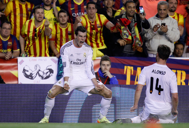 Real Madrid's Gareth Bale celebrates his game-winning goal over Barcelona in the Copa del Rey final.