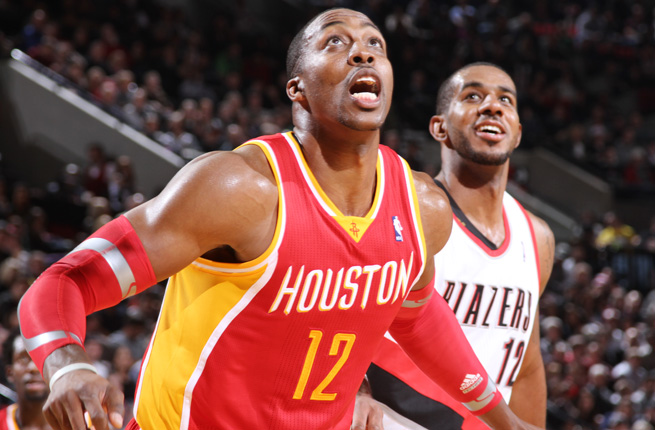 Rockets center Dwight Howard averaged 25.5 points and 13.5 rebounds against the Blazers this season.
