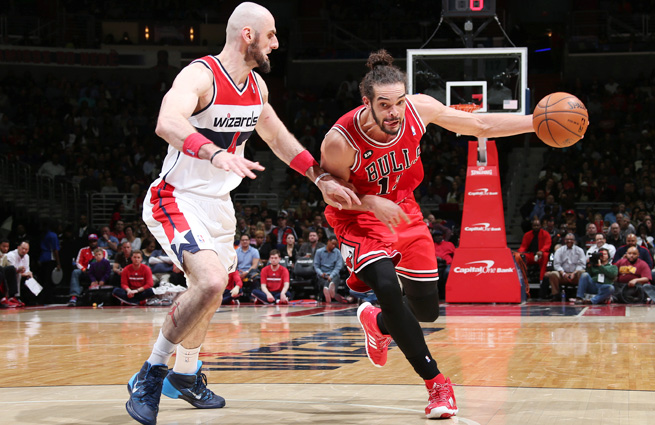 Joakim Noah (right) led the Bulls to first-round home-court advantage despite Derrick Rose's absence.