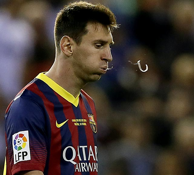 "Lionel makes a messi: Barcelona's star forward was the spitting image of dignity during his team's Copa del Rey (King's Spittoon) final ""Clasico"" football match vs. Real Madrid (not to be confused with Unreal Madrid of the Surrealist League) in Valencia."
