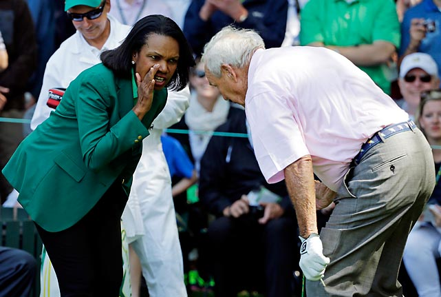 A leak on the links? The former U.S. Secretary may have been caught passing state secrets to the legendary duffer at the Masters Tournament in Augusta, Ga.