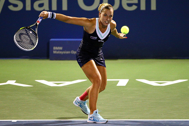 Dominika Cibulkova came back from a set down to beat Zarina Diyas 4-6, 6-2, 6-4.