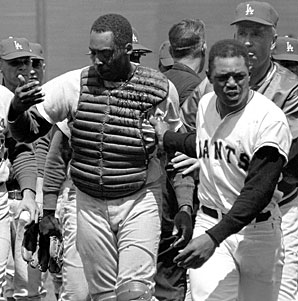 Willie Mays came to the rescue of the heavily-bleeding Roseboro.