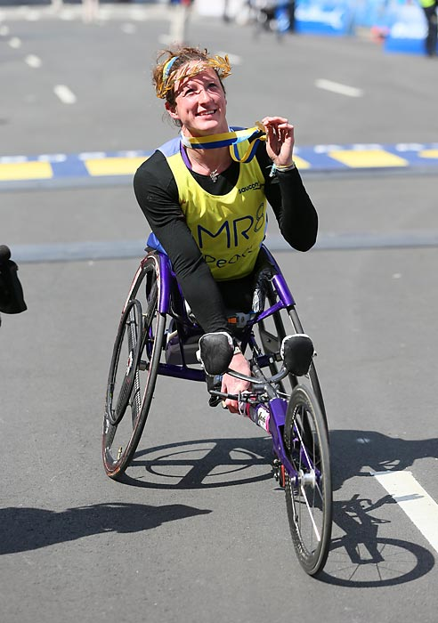 Tatyana McFadden after crossing the finish.
