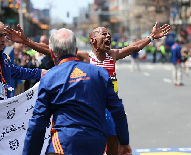 Keflezighi celebrates his victory, finishing with a time of 2:08:36.