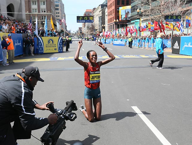 Jeptoo rejoices after completing the marathon with a time of 2:18:57.