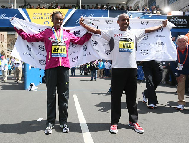 Winners Rita Jeptoo and Meb Keflezighi are recognized.