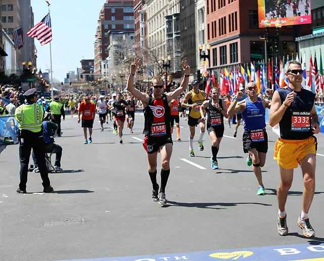 Runners soak in the moment as they complete the marathon.