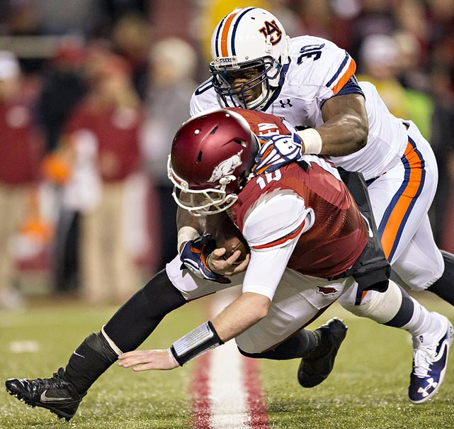 While helping Auburn to the national title game, Dee Ford put an exclamation point on his collegiate career with 10.5 sacks and 14.5 tackles-for-loss. At 6-foot-2 and 252 pounds, he cannot match the 6-6 Jadeveon Clowney physically and has no shot at unseating him as the first DE taken in the draft. He may not be far behind, though, when it comes to production as a rookie. <italics>Draft projection: Late Round 1-Round 2</italics>