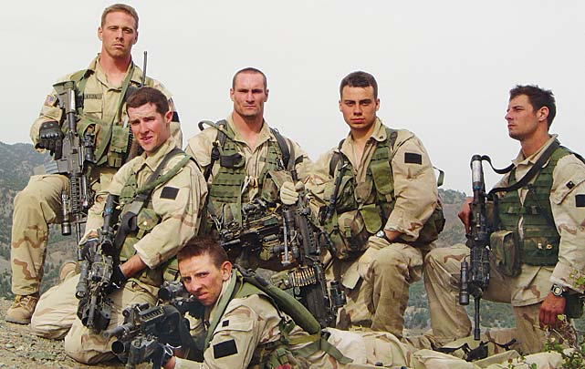 Pat Tillman with fellow Rangers in Afghanistan.