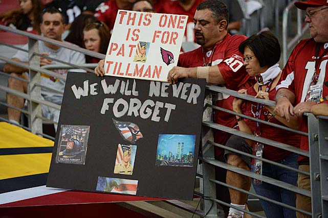 Fans express their respect and admiration for Tillman at a September 2012 game.