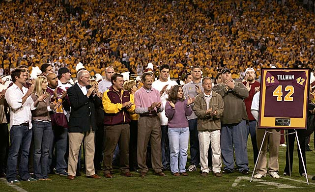 Team and family members of Pat Tillman honor his jersey retirement during halftime of the Arizona State Sun Devils game against the Washington State Cougars on Nov. 13, 2004.