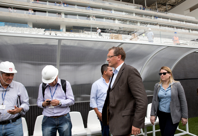 FIFA secretary general Jerome Valcke inspects the Itaquerao Stadium in Sao Paulo, which is slated to host the opening game of the World Cup.