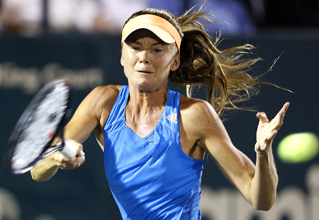 Daniela Hantuchova overcame 2013 finalist Lourdes Dominguez Lino 7-5, 6-2.