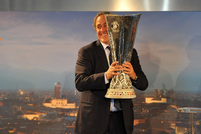 UEFA president Michel Platini poses with the Europa League trophy in Turin, the site of this year's final.