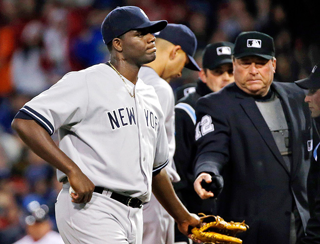 Michael Pineda was ejected from Wednesday night's game against the Red Sox because he had pine tar on his neck.