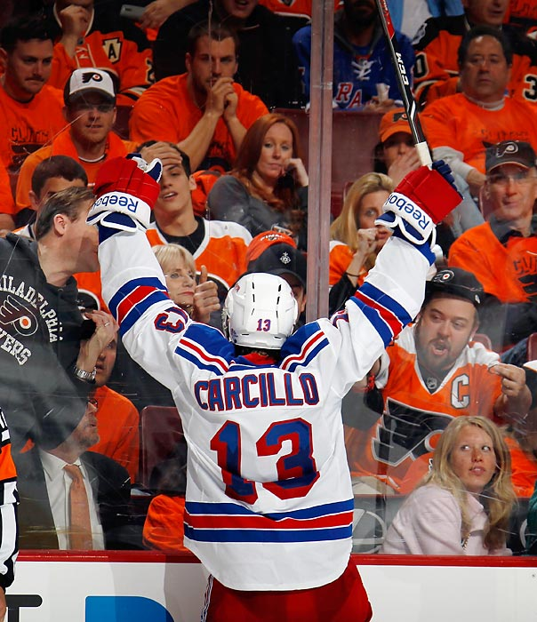 "The former Flyer otherwise known as ""Car Bomb"" greeted his adoring public in Philadelphia after scoring a third period goal at the Wells Fargo Center. The folks here were not particularly thrilled when Carcillo's Rangers downed their Flyers, 4-1."