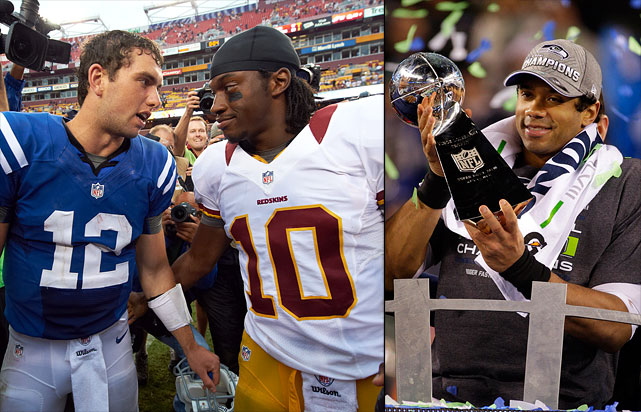 There's almost nothing not to love about the first two prolific seasons churned out by this headline-stealing group. The Big Three of No. 1 pick Andrew Luck, No. 2 pick Robert Griffin III and third-round extraordinaire Russell Wilson have combined to make the playoffs seven out of a potential nine times, with Wilson's 6-2 record as a postseason starter and Seattle's eye-opening Super Bowl victory over the Peyton Manning-led Broncos leading the embarrassment of riches. The rest of the class, it isn't too shabby either, with Miami's No. 8 pick Ryan Tannehill turning in a solid first two seasons for the Dolphins (15-17 as a starter), and Philadelphia's third-round pick Nick Foles emerging as one of the stories of the 2013 season. Even the curious fourth-round pick of Kirk Cousins by Washington in 2012 turned out to look sage in hindsight.