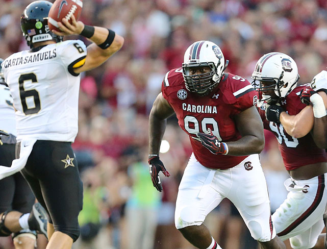 Of course Jadeveon Clowney was the man of the moment in South Carolina's defense, but Kelcy Quarles was nobody to ignore. The 6-foot-4, 297-pound junior put up 9.5 sacks and 13.5 tackles for loss, and while you could say this was the product of opposing offenses teeing off on Clowney, the tape shows Quarles has some intriguing qualities as well. He projects well as a hybrid defender at the NFL level -- he'd be a good fit as a traditional end in a 3-4 defense, or excel as a 3-tech moving out to end in a variable four-man front. <italics>Draft projection: Round 3</italics>