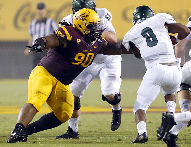Will Sutton weighed in at 303 pounds at the combine, standing 6-foot-1. But he played much lighter than that through much of his time with the Sun Devils and still showed a lot of power. His ability to deal with double teams and still flip blocks is something that really stands out on tape. He'll have to answer questions about his weight issues at the Senior Bowl (315 pounds was not a good look for him) and that his sack totals dropped from 13 in 2012 to just four last season. <italics>Draft projection: Round 2/Round 3</italics>