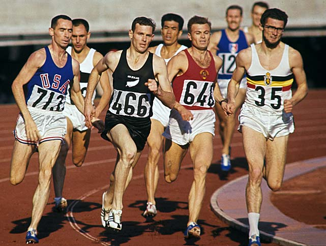 New Zealand's Peter Snell (466) leads the pack at the 1964 Tokyo Summer Olympics. Snell would take home gold in both the 800M and 1500M events.