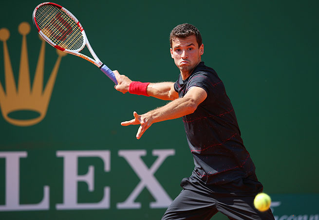 Top-seeded Grigor Dimitrov advanced to Sunday's final after Gael Monfils retired with an ankle injury.