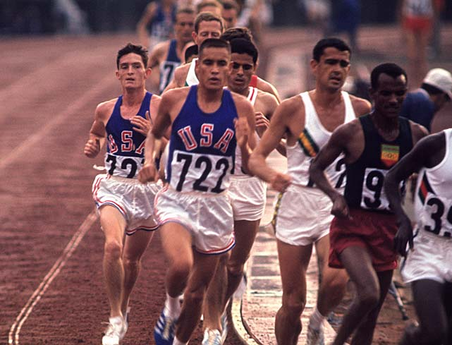 Billy Mills (722) bides his time in the 10,000 meters at the Tokyo Olympics. An unheralded member of the 1964 U.S. team, he's the first and only American to win Olympic gold in the event. He followed Jim Thorpe as the second Native American to earn a gold medal.