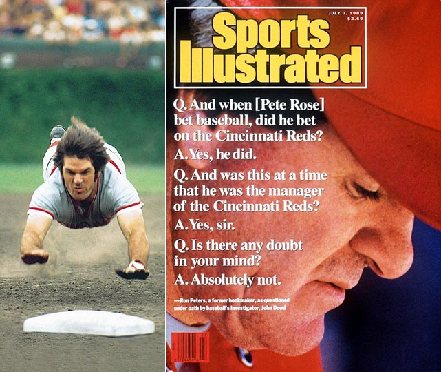 "In 1989, Sports Illustrated first reported the story of Pete Rose's alleged gambling habits, including placing bets on baseball games. The report came after MLB questioned Rose and he denied gambling on the game. Later that year, however, MLB came into possession of documents detailing Rose's bets on baseball, including Cincinnati Reds games while he was their manager. Similarly to the 1919 Black Sox Scandal, Rose was found to have committed the ultimate no-no: betting on the game while having a direct effect on the outcome. The penalty for such an offense? A lifetime ban, one which he served while vehemently denying any wrongdoing until releasing an autobiography in 2004. In the book, the all-time hits king admitted he bet on Reds games ""every night"" as manager. Despite reinstatement efforts, no commissioner since his ban has acted upon Rose's requests to return to baseball."