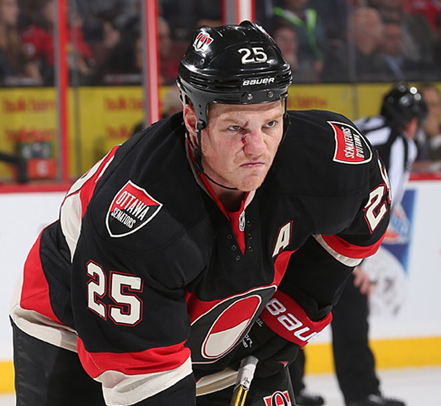 Hockey is a brutal sport and the Ottawa Senators winger has the game face to prove it.