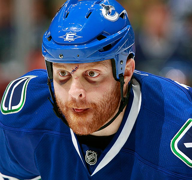 During his stint with the Canucks, the notorious roughneck sported the wages of sticking your nose into plays and stirring things up.