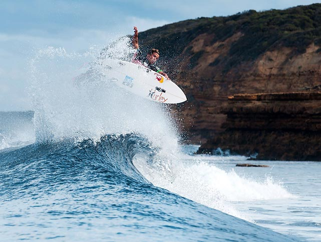 Australia's Julian Wilson rides a wave at the Ripcurl Pro Bells Beach in Australia.