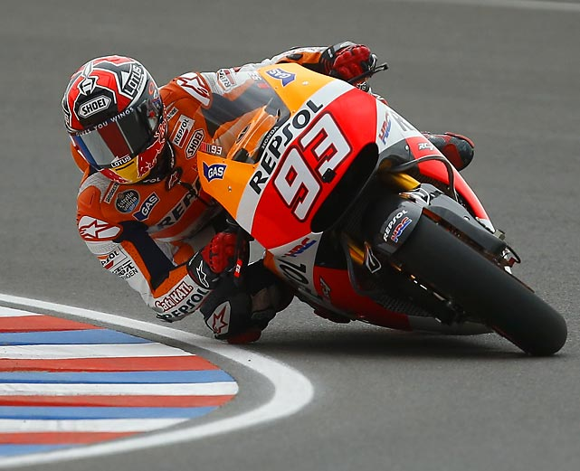 Marc Marquez of Spain hugs a turn during a free practice session at the Termas de Rio Hondo circuit in Argentina. The 21-year-old went on to win Argentina's Moto Grand Prix, his third win in three events this season.