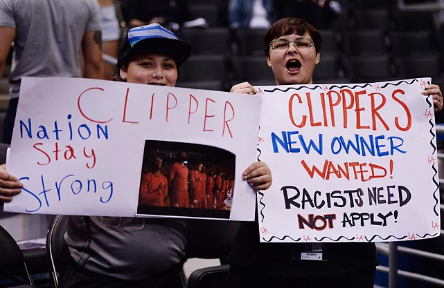 Clippers fans show their support for their players, and their distaste for owner Donald Sterling.