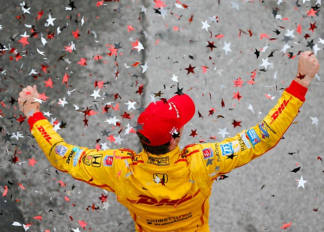 Ryan Hunter-Reay celebrates his victory in the Honda Indy Car Grand Prix of Alabama in Birmingham.