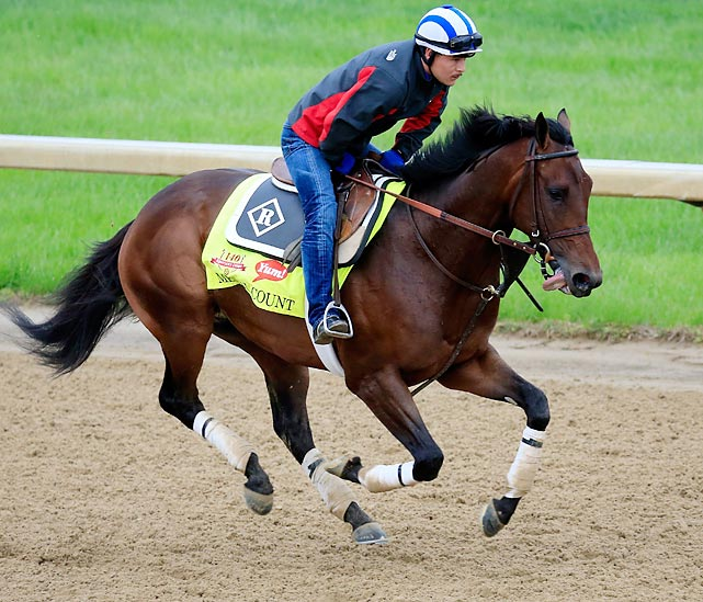 Trainer: Dale Romans Jockey: Robby Albarado With his closing style, he's sure to get a lot of action at the mutuel windows on race day. The Derby will be his third start in the last 30 days -- he won the Transylvania Stakes at Keeneland on April 4, and then ran second in the Blue Grass eight days later -- an unusually intense schedule for a young horse with a world of talent. But there is a precedent: When Charismatic won the Derby in 1999, it was his third race in 29 days. Medal Count has worked well at Churchill Downs, and it wouldn't be totally shocking if he charged his way into the money on Saturday.