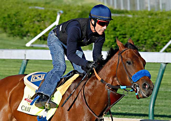 Gary Stevens rode Candy Boy last Saturday in the colt's final timed workout before the Kentucky Derby.
