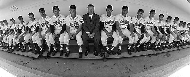 A panoramic portrait of Baltimore Orioles general manager Lee MacPhail (center), manager Hank Bauer (42), the Orioles coaching staff and players during spring training. The team would finish third in the American League that year.