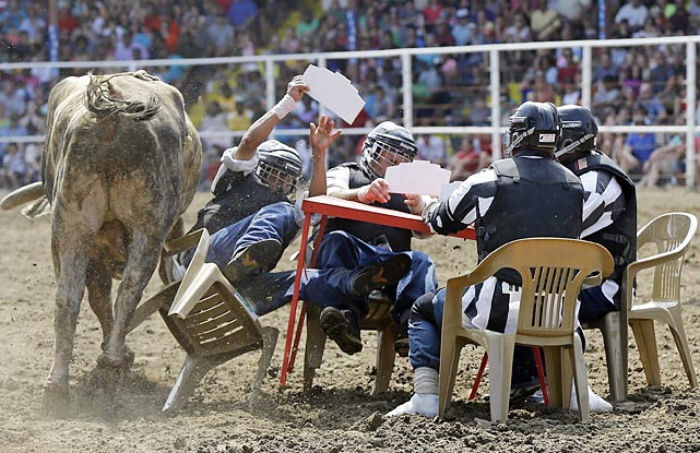The bull was flying fast and furious at the Convict Poker table in Angola, La., Jailbirds who wish to compete in the event must pass a physical and be deemed strong and healthy enough to be run over and gored by boisterous bovines.