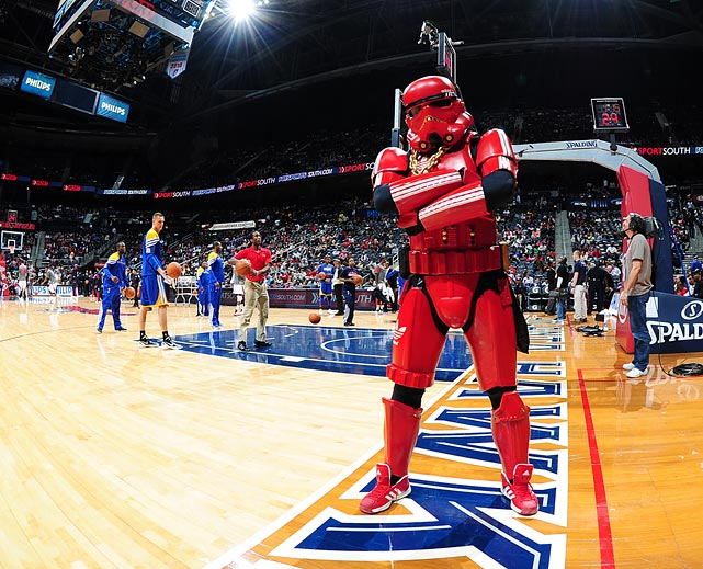 A red Stormtrooper stands guard before the Atlanta Hawks game against the Golden State Warriors on Feb. 29, 2012 at Philips Arena in Atlanta.
