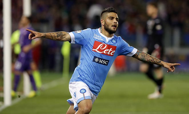 Lorenzo Insigne scored two goals to lead Napoli to an Italian Cup title over Fiorentina.