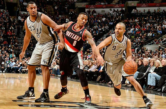 The matchup between Tony Parker (right) and Damian Lillard (center) will help dictate the series.