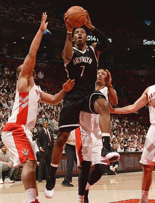 Brooklyn Nets guard Joe Johnson skies for a shot against the Toronto Raptors in Game 7 of their first-round series.