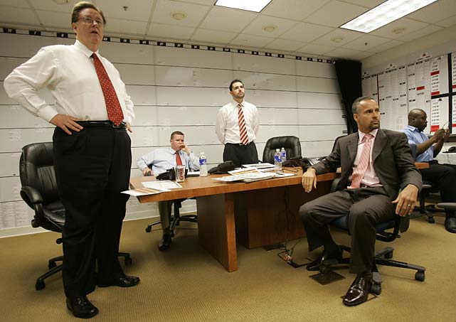 Dr. John York, Scot McCloughan, Jed York and Mike Nolan of the San Francisco 49ers look on moments before making the first round pick on April 28, 2007 in Santa Clara, California. The 49ers drafted Patrick Willis, Jason Hill and Ray McDonald.