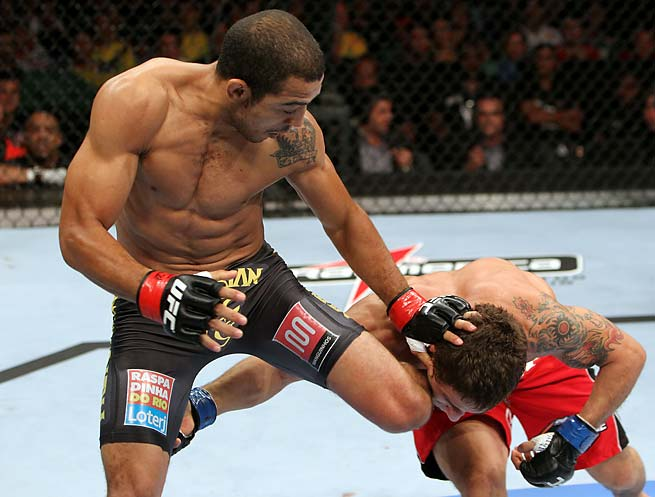 This Jose Aldo knee to Chad Mendes' head ended his night when they first met.