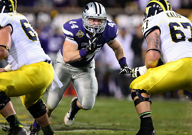 Kansas State's Ryan Mueller (44) was named first-team All-Big 12 after tallying 11.5 sacks last season.