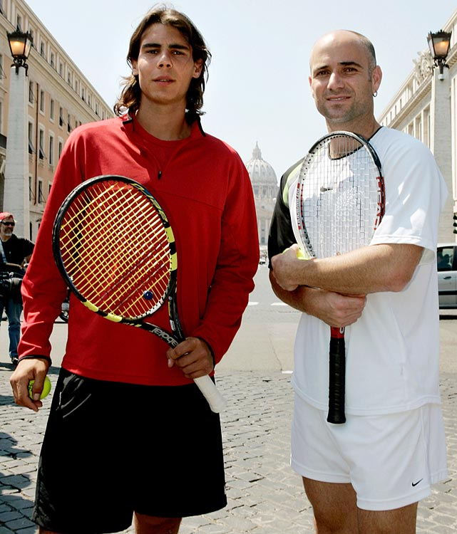 "Eight-time Grand Slam champion Andre Agassi says Rafael Nadal, and not Roger Federer, is the greatest tennis player of all-time. <italics>""I'd put Nadal number one and Federer number two,""</italics> Agassi said to Singapore's Straits Times newspaper, via aljazeera.com. Nadal has beaten Federer 23 times in their 33 all-time meetings, and Agassi said grand slam titles shouldn't be the only thing that decides who is the greatest ever. At just 27, Rafael Nadal already has 62 titles, including 13 Grand Slams, and more than 680 match victories. He turned pro in 2001, and it's been a fun ride since (notwithstanding the knee injuries that have plagued him through the years). Here are some photos of Nadal from over the past decade."