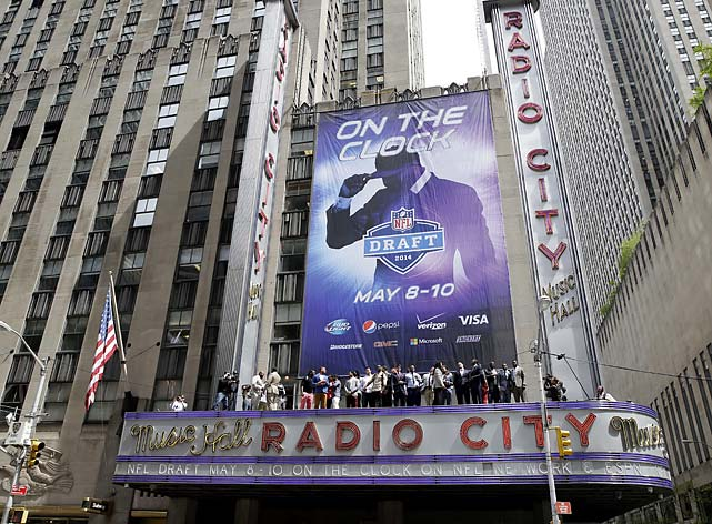 In what could be the last draft at Radio City Music Hall in a while, the 2014 prospects line up on the awning of Radio City Music Hall for a group photo.